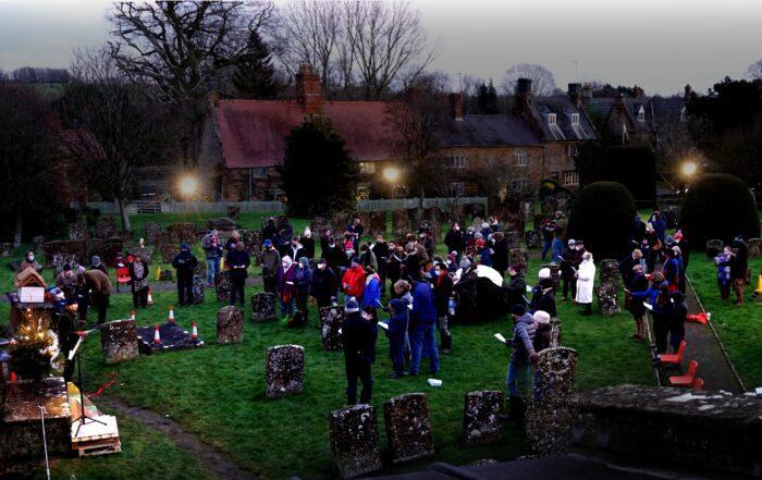 Carols in the churchyard of St Mary Magdalene, Wardington
